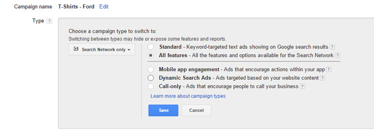Google AdWords All Features Settings