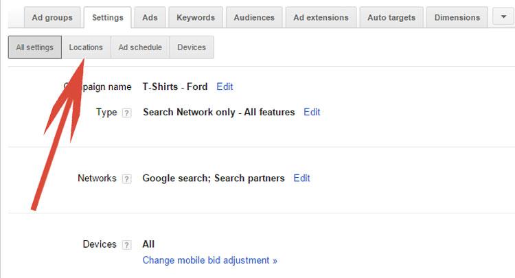 Google AdWords Locations Subtab