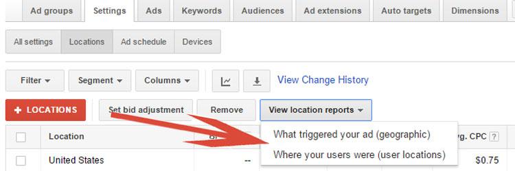 Google AdWords Location Report