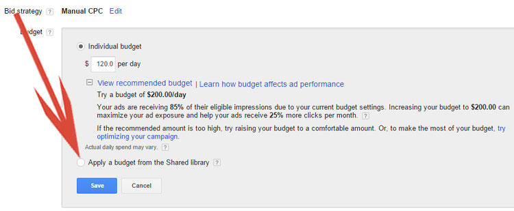 Google AdWords Shared Library Setting