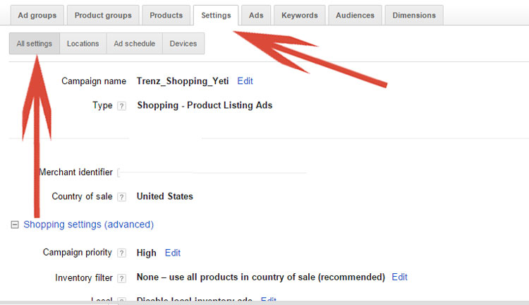 Google AdWords Settings Tab