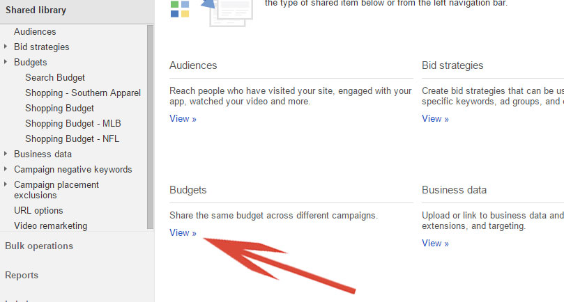 Google AdWords View Shared Budgets
