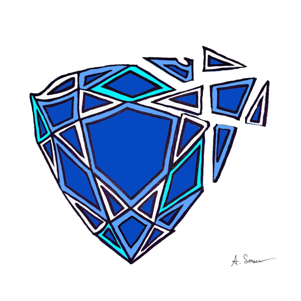 Shattered Sapphire [2016]; Sapphire's are a 9 on the Mohs hardness scale. Imagine the release of precision energy required to shatter several facets of a trillion-cut stone and feel that power and strength of will.