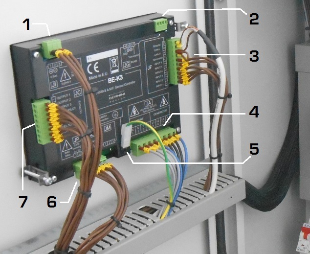 AUTOMATIC MAINS FAILURE CONTROLLER REAR VIEW CONNECTIONS