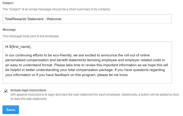 Create a customized Welcome Message