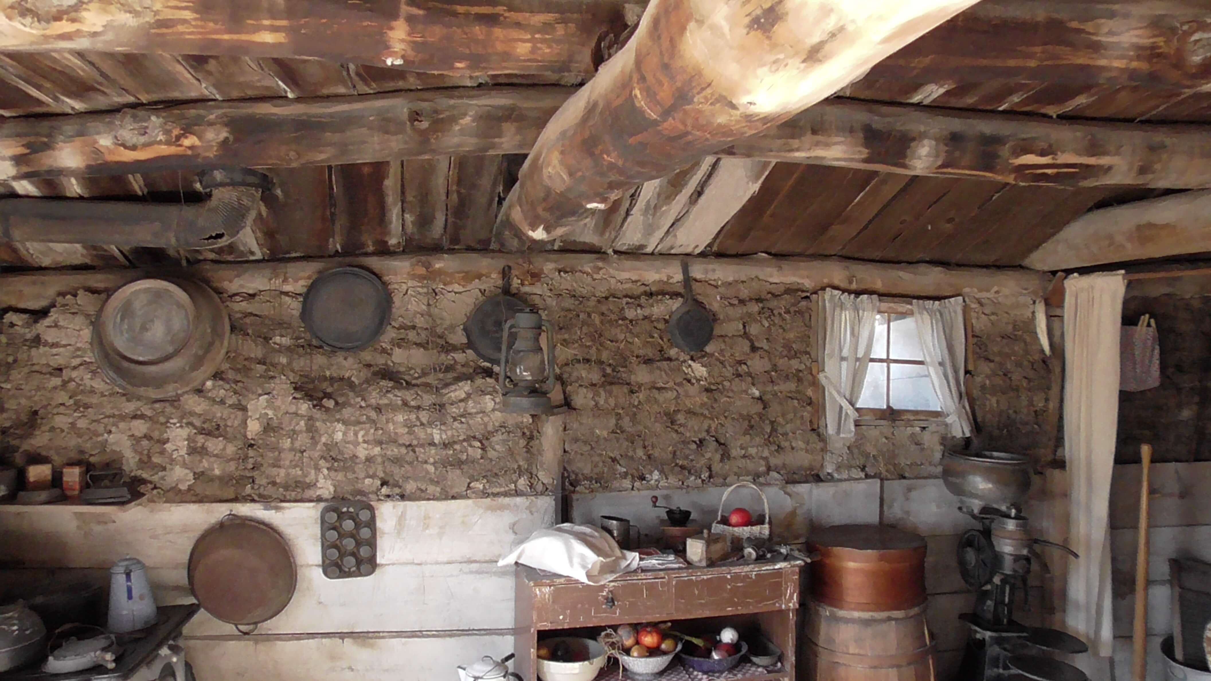 Sod House Kitchen with Sod Wall