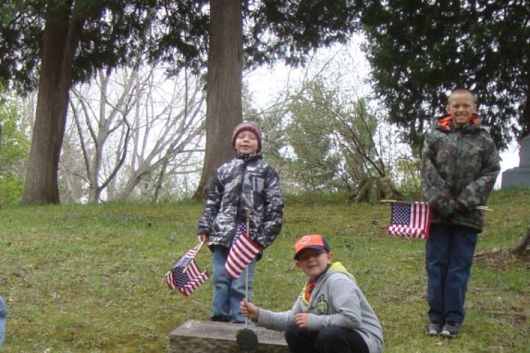 Boy Scouts at Cemetary