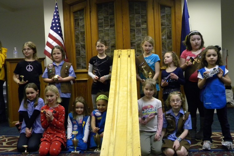 Young Girl Scouts Pinewood Derby