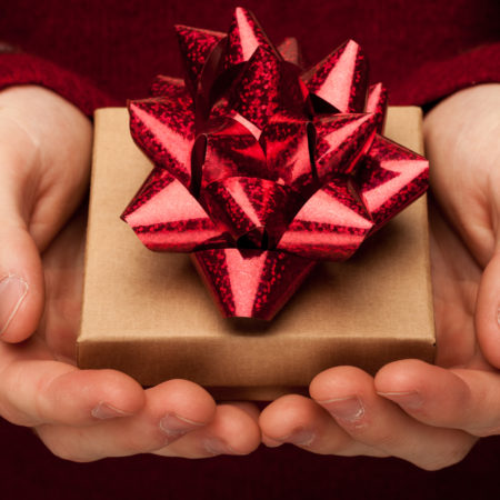 A present with a red bow