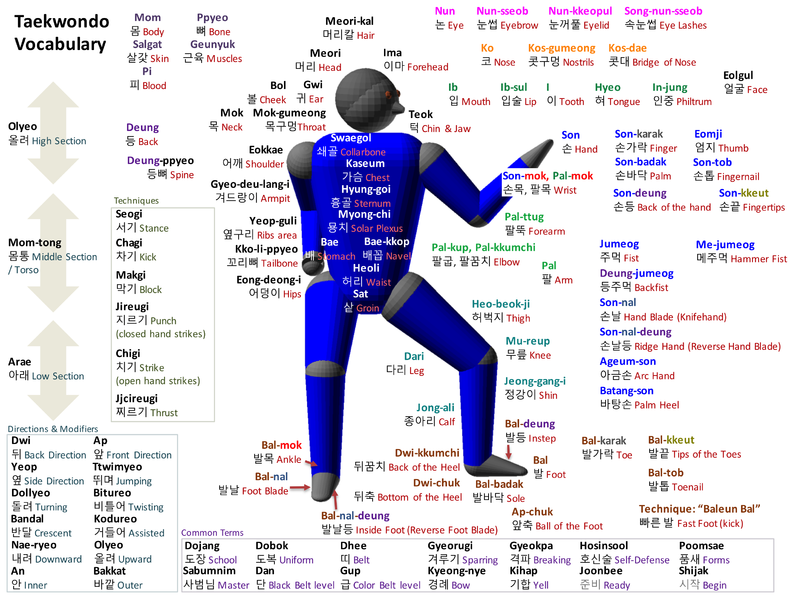 Taekwondo Vocabulary by Truejim  Source: Wikimedia Commons