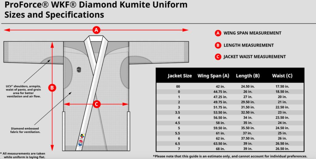 martial arts uniform size chart