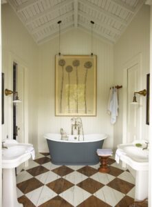 cozy and charming cabin bathroom
