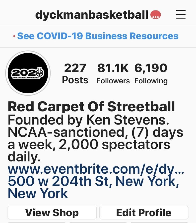 Dyckman Basketball Instagram