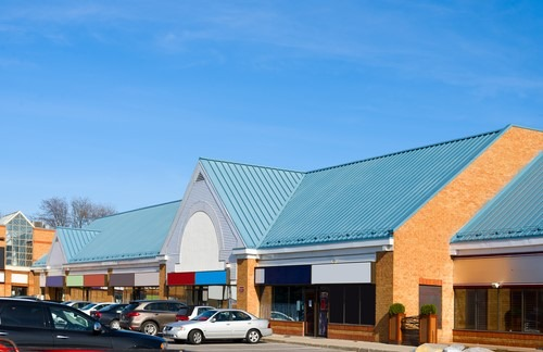 Metal roof on strip mall