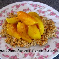 Oatmeal Pancakes with Honeyed Mangoes