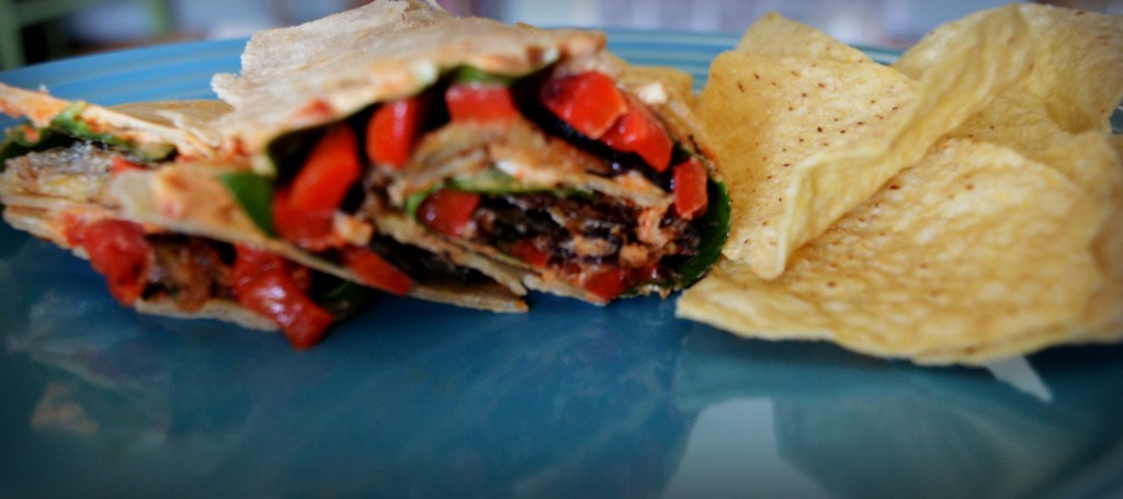 crispy eggplant and roasted pepper wrap 5