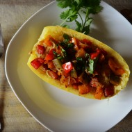 Rainbow Pepper Spaghetti Squash Recipe, Vegan Gluten Free