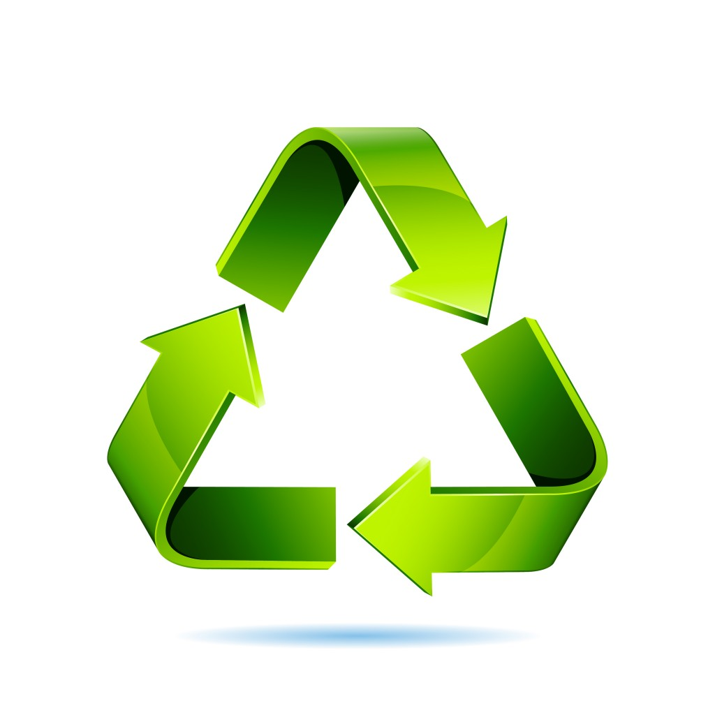 recycling icon isolated in green