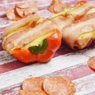 Pizza Stuffed Bacon Wrapped Peppers, Gluten and Dairy Free