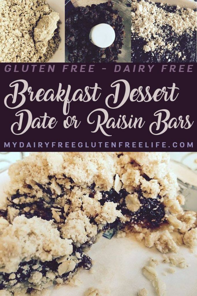 Gluten Free Dairy Free Breakfast Dessert Date or Raisin Bars. Easy gluten free dessert | Grab and Go Gluten Free Dairy Free Breakfast | Dairy Free Snack Bars | DF GF Lunchbox Snack