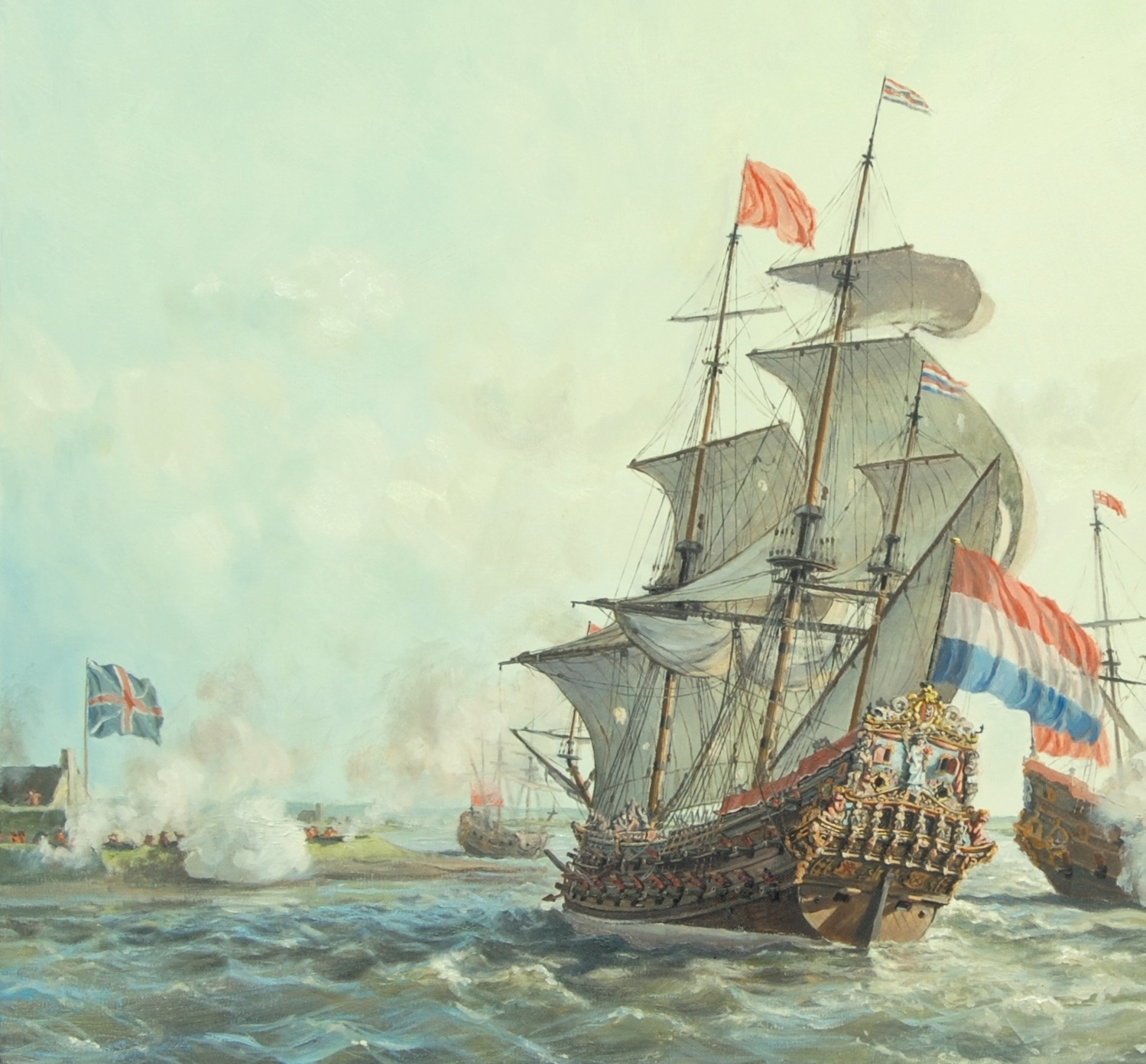 Dutch attacking the English during the Anglo-Dutch Wars