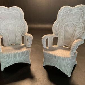 White wicker throne chairs