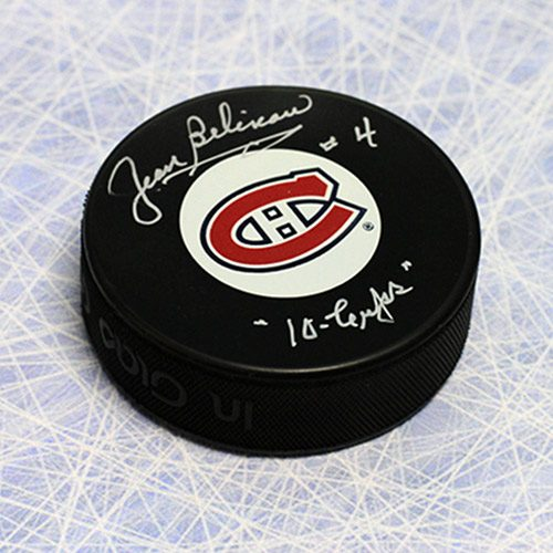 Jean Beliveau Signed Puck Montreal Canadiens with 10 Cups Note