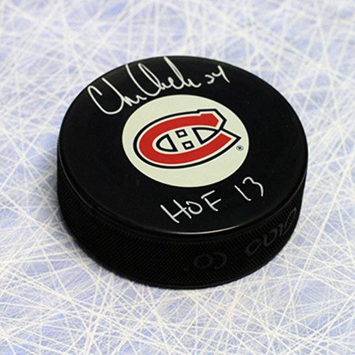 Chris Chelios Montreal Canadiens Autographed Puck-HOF note