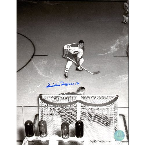Dickie Moore Montreal Canadiens Signed Overhead vs Bower 8x10 Photo