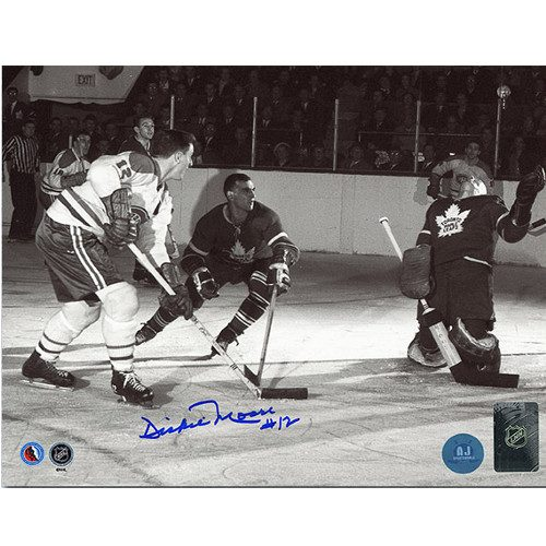 Dickie Moore Signed Montreal Canadiens vs Maple Leafs 8x10 Photo