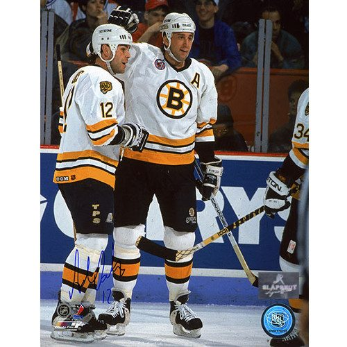Adam Oates Signed Photo-Boston Bruins On Ice with Neely 8x10