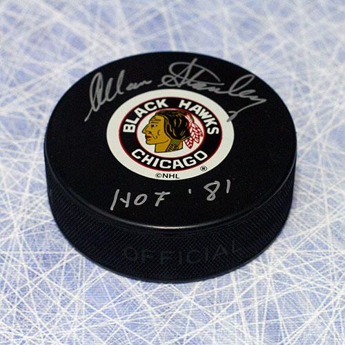 Allan Stanley Chicago Blackhawks Autographed Hockey Puck w/ HOF Note