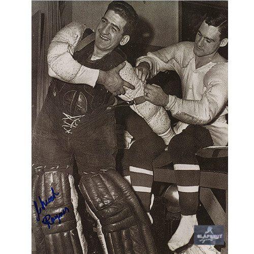 Chuck Rayner New York Rangers Autographed Dressing Room 8x10 Photo
