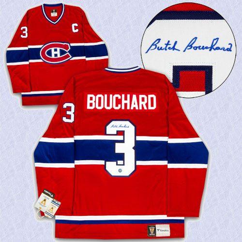 Butch Bouchard Montreal Canadians Autographed Fanatics Vintage Hockey Jersey