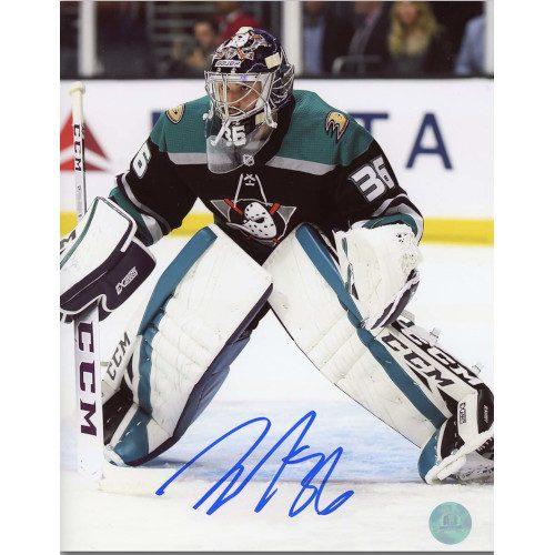 John Gibson Anaheim Ducks Autographed Mighty Ducks Retro Jersey 8x10 Photo