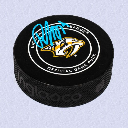 Roman Josi Nashville Predators Autographed Game Model Hockey Puck