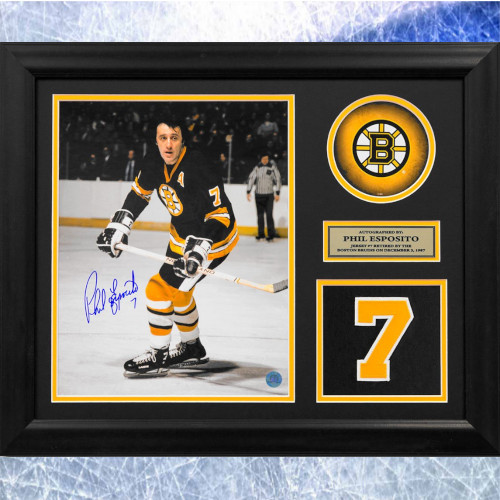 Phil Esposito Framed Boston Bruins Autographed Retired Jersey Number 20x24