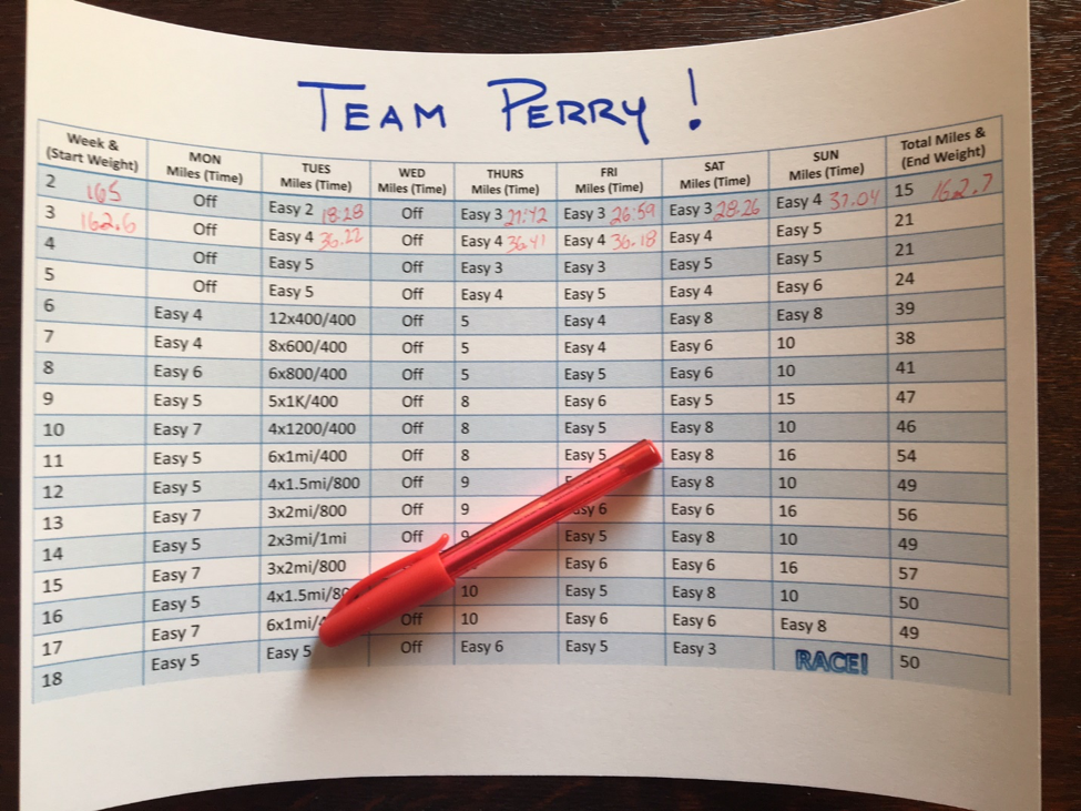 Team Perry Training Schedule