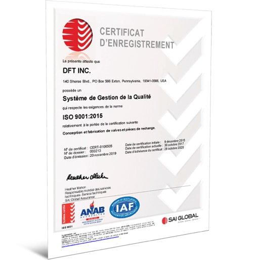 ISO 9001:2015 Certificate - French