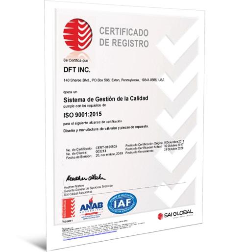 ISO 9001:2015 Certificate - Spanish
