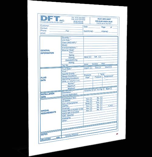 Check Valve Data Sheet