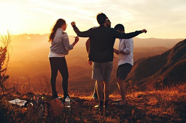 millennials dancing in nature