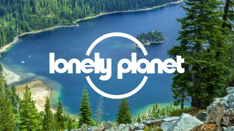 Lonely Planet logo on image of Lake Tahoe