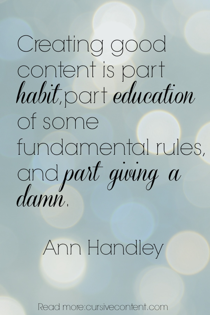 ann handley content marketing quote cursive