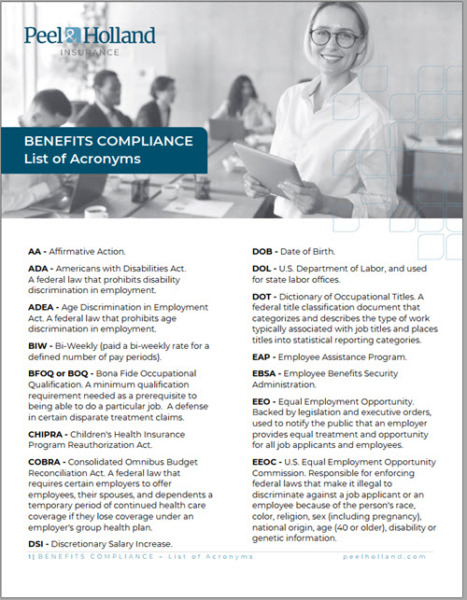 Benefits Compliance List of Acronyms