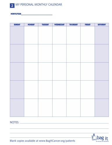 Patient Forms: My Personal Monthly Calendar – Bag It