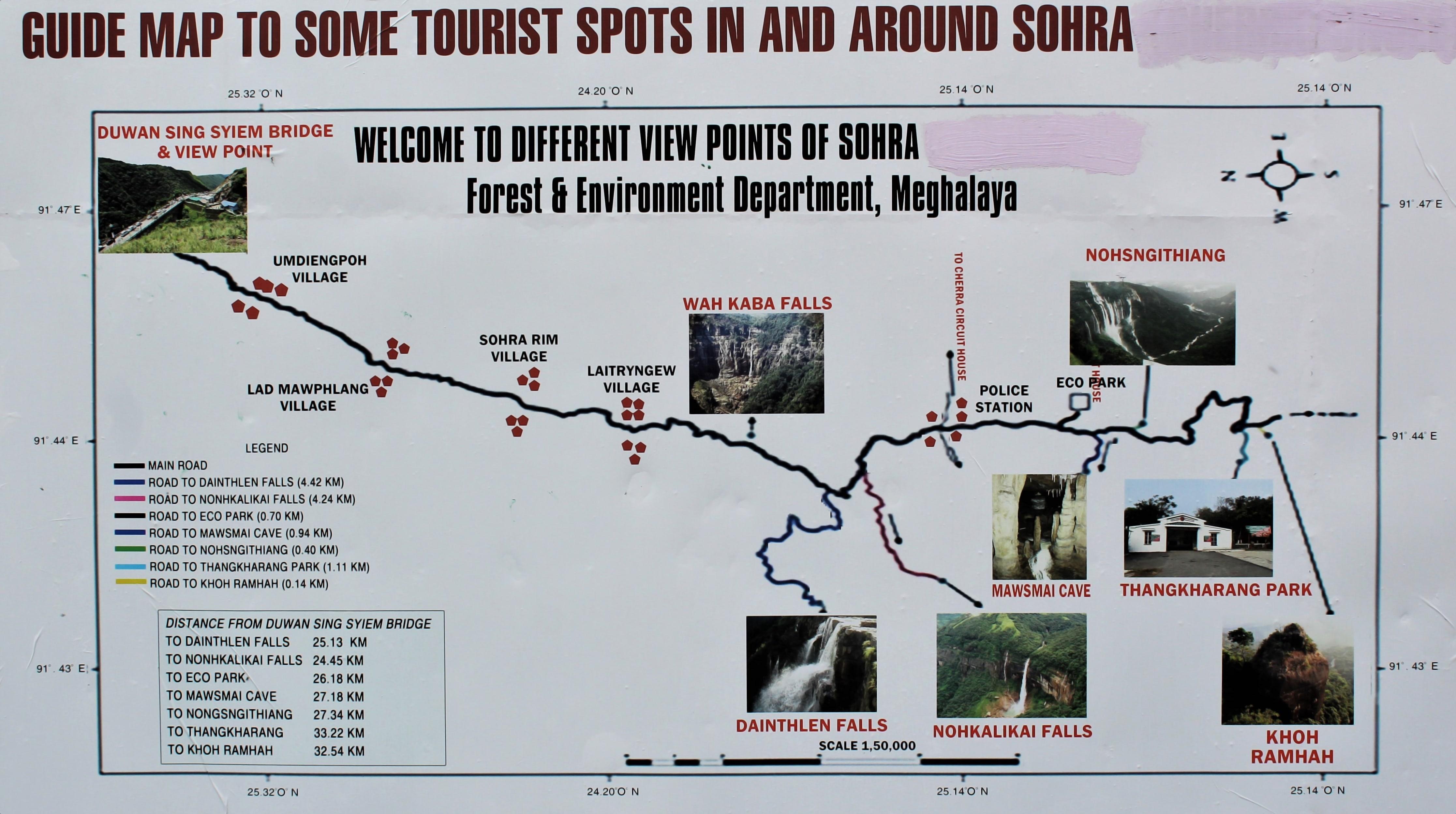 A Map at Duwan Sing Syiem View Point showing key Tourist Spots in Cherrapunji