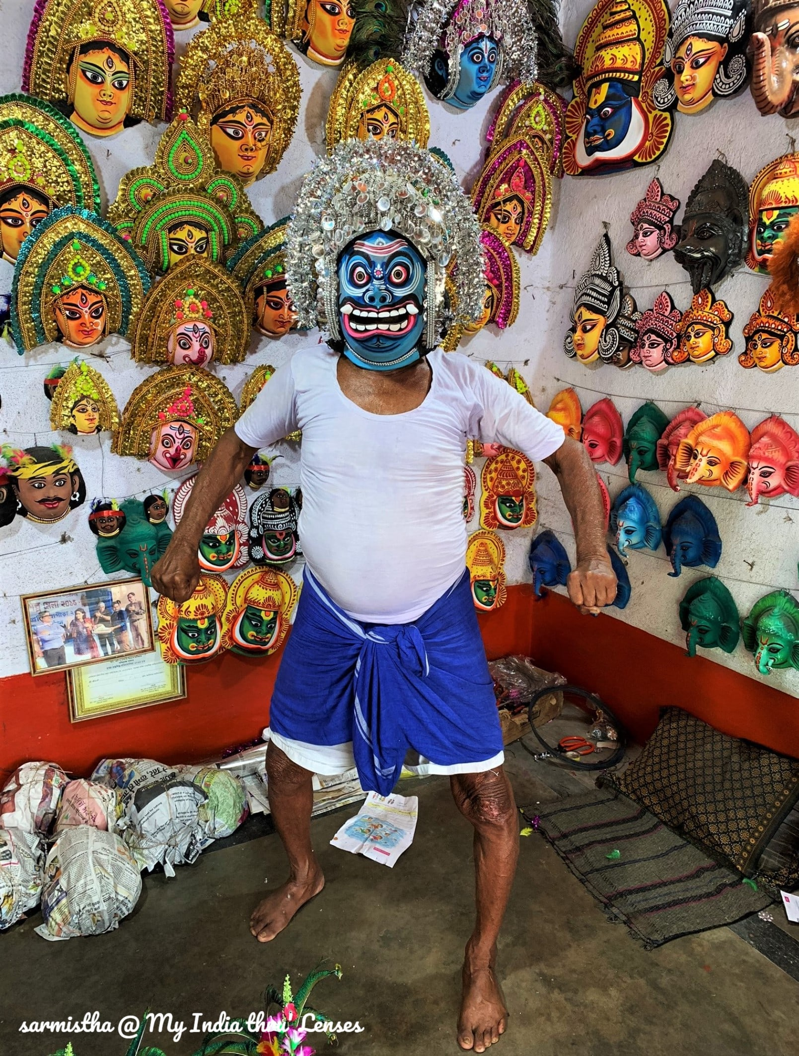 The Artisan posing for us with a demon mask