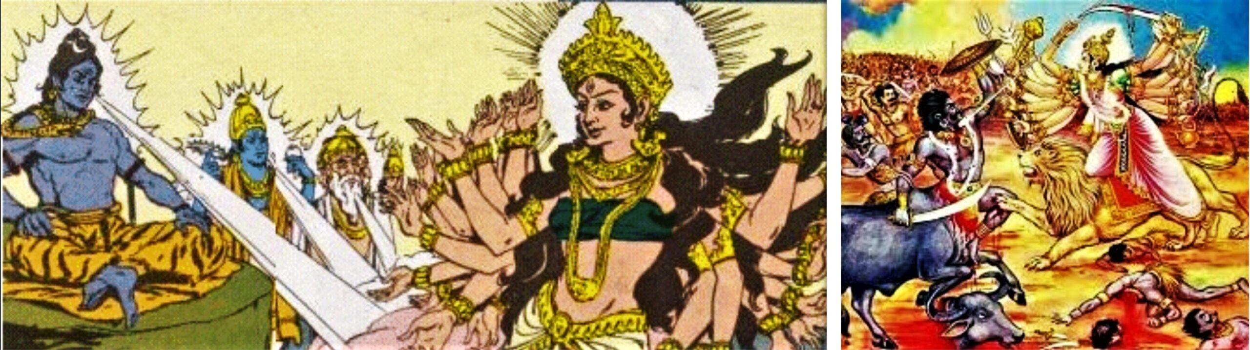 Left: Emergence of Goddess Durga, Right: Goddess Durga in a fierce battle with Mahishasura | PC - ritsin.com