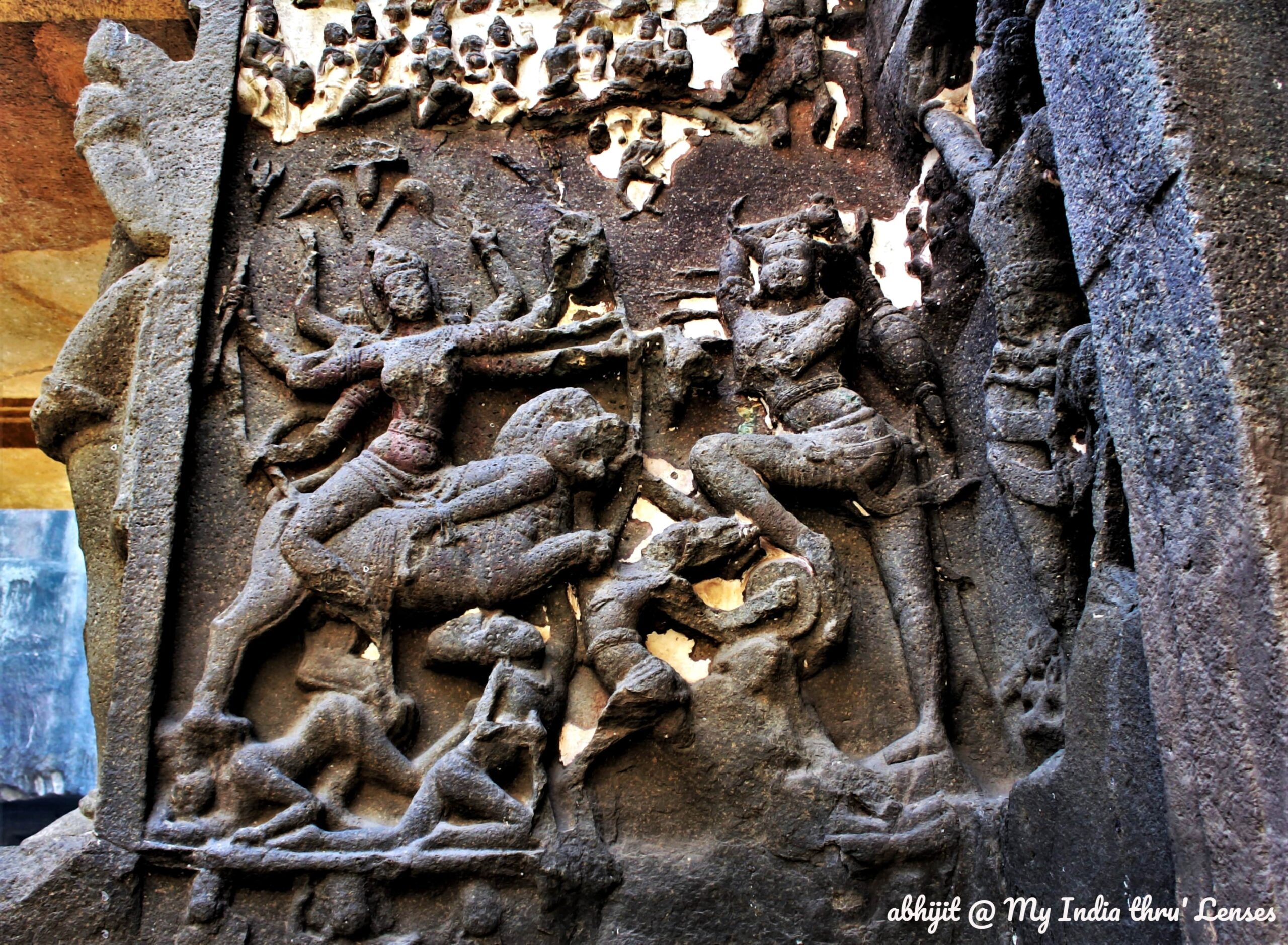 Mahishasuramardini sculpture, Kailash Temple, Ellora Caves